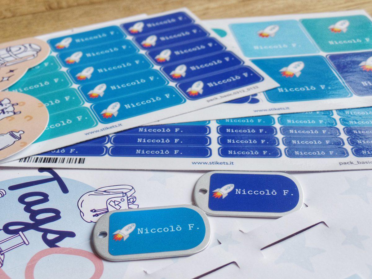 Etichette adesive per materiale scolastico
