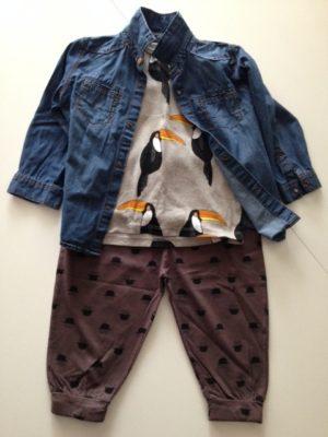 Tshirt Mini Rodini, Camicia in jeans Zara, pantaloni Emile et Ida